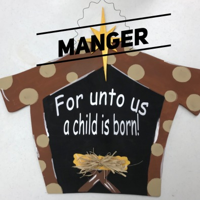 "Manger / Choose ""Just like picture"" for font option $35 Adult Shape"