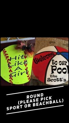 Round / Please pick sport or beachball $35 Adult Shape