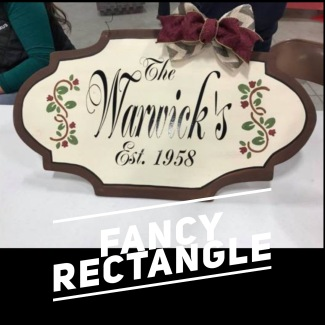 Fancy Rectangle / Majestic Font $35 Adult Shape