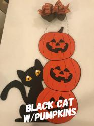 Black Cat w/Pumpkins ($35 Adult Shape)