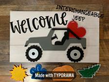 Interchangeable JEEP includes 5 littles picket at party / Farmhouse Lemonade Font ($40 Adult Shape)